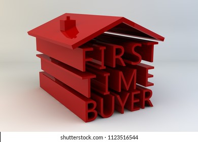 "The words ""First Time Buyer"" arranged under a roof to look like a house painted in red and set against a white background."