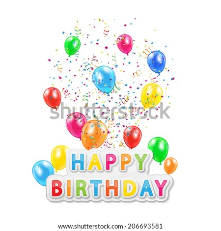 words happy birthday balloons confetti tinsel stock illustration