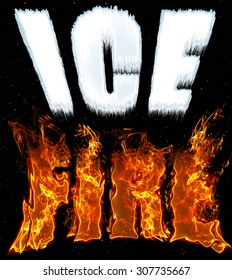 Words Ice and Fire on black background in cold, white icy letters and hot, yellow fiery letters. Concept of contrast, opposites and extremes. Hot and cold.