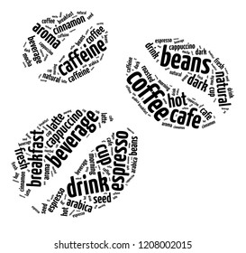 Words illustration of coffee beans concept over a white background