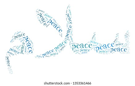 "Words illustration concept of peace comprising an arabic word, ""Salam"" which translated as peace over a white background"