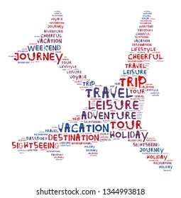 Words illustration concept of travelling over white background