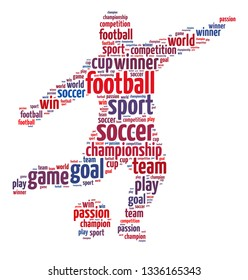Words illustration of a soccer player kicking ball over the white background