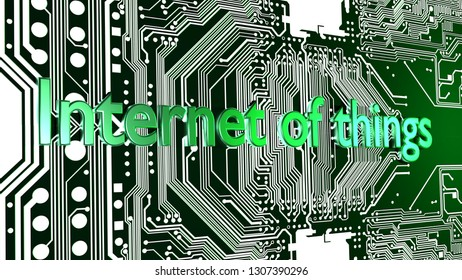 Words Internet of things in green on top of circuit board 3D illustration