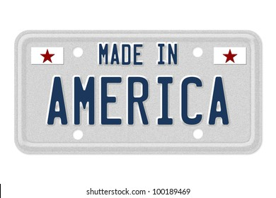 The words made in America in blue on license plate isolated on white