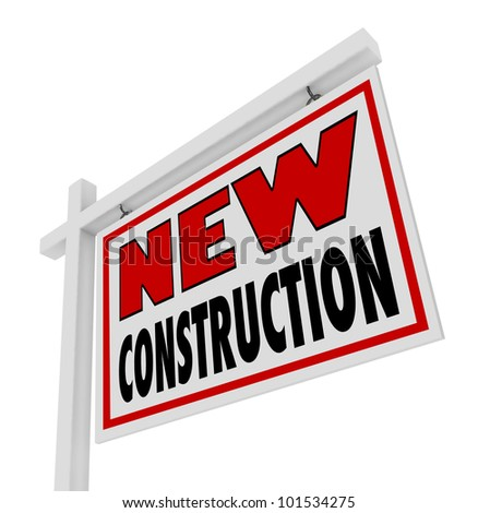 words new consruction on real estate stock illustration 101534275