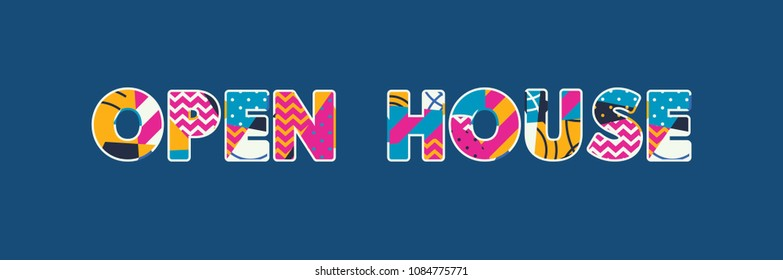 The words OPEN HOUSE concept written in colorful abstract typography.