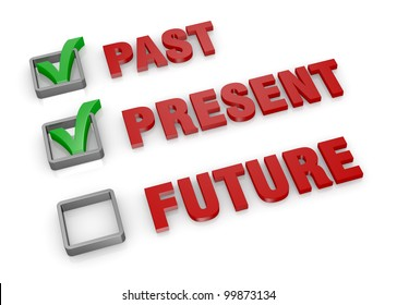 the words: past present and future with check boxes and green marks. the future is unchecked (3d render)