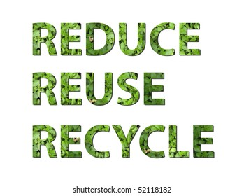 The words reduce, reuse, recycle are written composing of elements of earth
