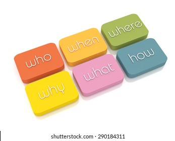 """The words """"who"""", """"when"""", """"where"""", """"why"""", """"what"""", """"how"""" placed on colored boxes isolated from a white background. 3D Illustration"""