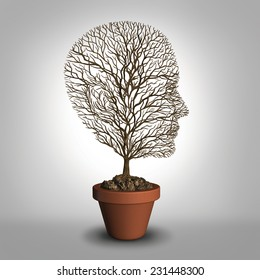 Work burnout and job stress concept due to physical and emotional exhaustion from overwork or career anxiety as an empty tree shaped as a human head with no leaves as a distress and grief metaphor.