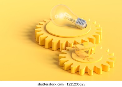 Work desk and light bulb yellow color on the gear with copy space for your text.  yellow background, minimal concept 3d render.