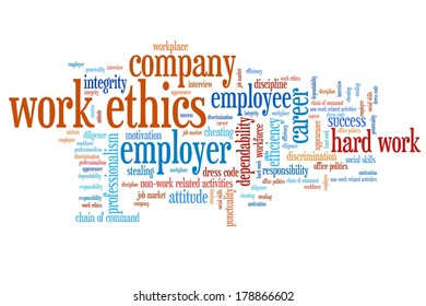 Work ethics issues and concepts word cloud illustration. Word collage concept.