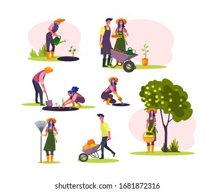 Work in garden set. Man and woman watering seedling, planting trees, picking fruits, harvesting. People concept. illustration for topics like hobby, farming, orchard