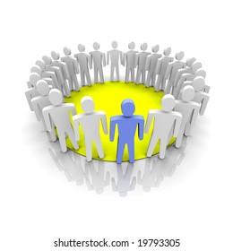 Work group illustration. 3D rendered image.