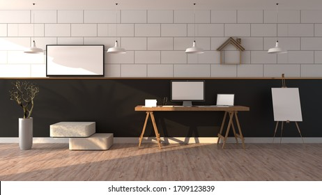 Work from home. Laptops on a table, The sunlight shines And the black and white wall with shadow of leaf. Television white screen are hung on the wall, Isolated on wooden floor, 3D rendering.