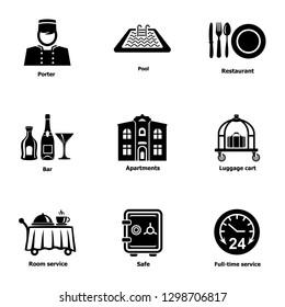 Work hostel icons set. Simple set of 9 work hostel icons for web isolated on white background