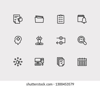 Work icons set. Mediate and work icons with capability, tasks and group tasks. Set of person for web app logo UI design.