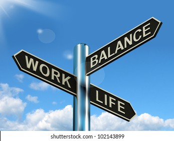 Work Life Balance Signpost Shows Career And Leisure Harmony Between Family, Friends And Job. A Choice Of Living And Happiness Against Occupation.