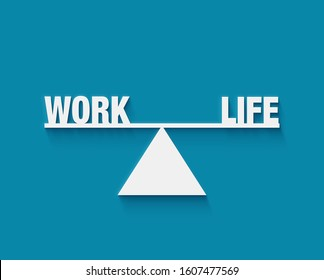 work life balance in white letters 3d. Weight between work, money and your family. Career and family are on the scales. Balance your life business concept. Family or money