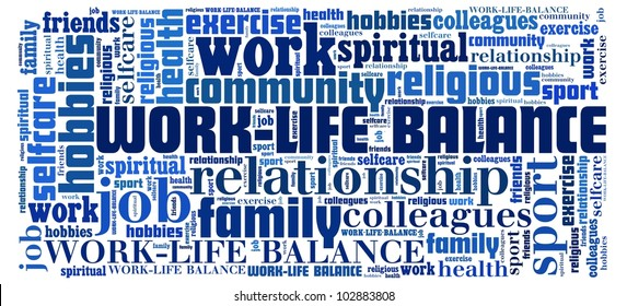 Work Life Balance in word collage