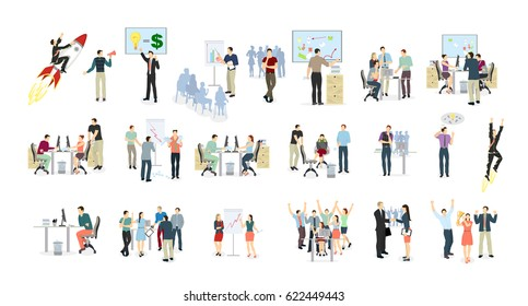 Work in office set on white background. meeting, presentations and winning. Abstract illustartions. Flying on rocket. - Shutterstock ID 622449443