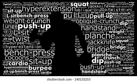 Work out concept in word collage