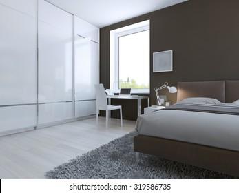 Work place in high-tech bedroom. 3D render