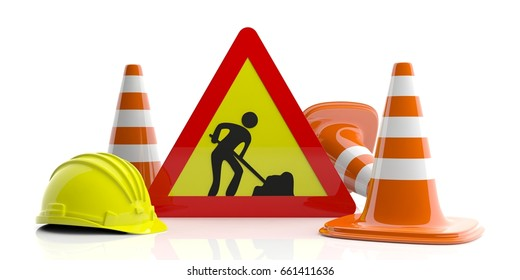 Work in progress concept. Traffic cones and sign and hard hat on white background. 3d illustration