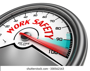Work safety level conceptual meter indicate hundred per cent, isolated on white background