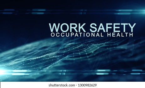 Work safety title health and safety (WHS (HSE) (OSH) welfare in the workplace - illustration render