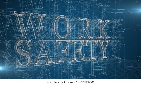 Work safety title health and safety (WHS (HSE) (OSH) welfare in the workplace - 3D title Illustration Render