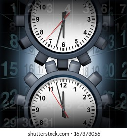 Work schedule business organization planning concept with a clock shaped as a gear or cog wheel and calendar icons as a stress metaphor for time management for a busy work and family life.