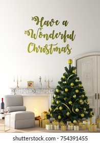 work space or copy space for in Christmas theme with Christmas tree and happy new years 2018 with ,gift , wood floor and wall ,3d illustration,3d rendering