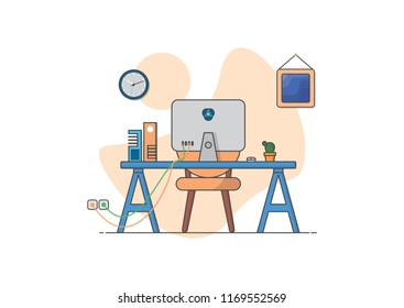 work space flat design ilustration