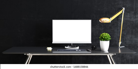 Work space stand mock up with table and plant, computer, keyboard, mouse; cup; sticker, table lamp front black concrete wall 3D rendering