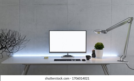 Work space stand mock up with table and plant, desktop pc, monitor, cup, sticker, table lamp front view concrete wall realistic 3D rendering