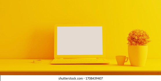 Work space stand mock up with table and plant, laptop, cup; sticker front wall yellow single color 3D rendering