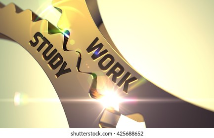Work Study on the Mechanism of Golden Metallic Gears with Lens Flare. Work Study - Illustration with Glowing Light Effect. Work Study - Technical Design. 3D.