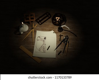 Work table, Leonardo da Vinci. 3D model
