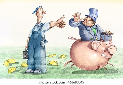 a worker asks for a transition to a patch on a piggy bank, but receives only a tease