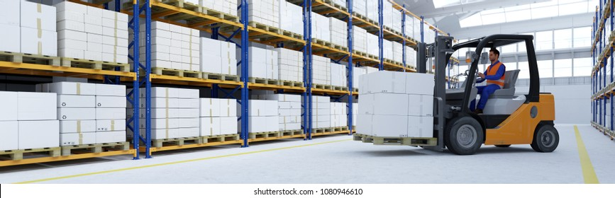 Worker with forklift loads boxes in a warehouse or factory in industry, logistics or shipping (3D Rendering)