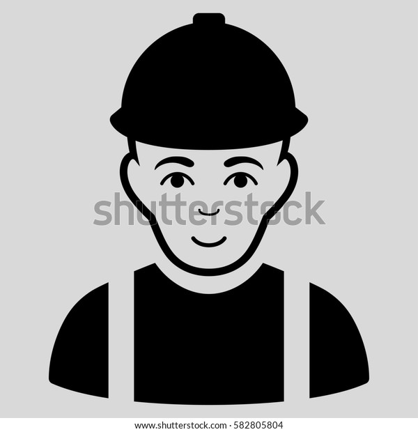 Worker glyph icon. Flat black symbol. Pictogram is isolated on a light gray background. Designed for web and software interfaces.