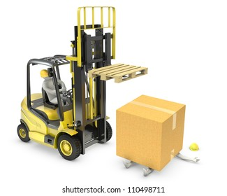 Worker was hit by cardboard falling from lift truck fork, isolated on white background