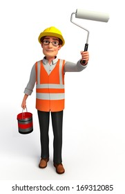 Worker with paint bucket and paint roller