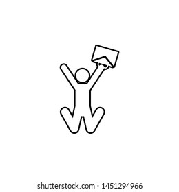 Worker rejoices, man, case icon. Simple thin line, outline illustration of People icons for UI and UX, website or mobile application