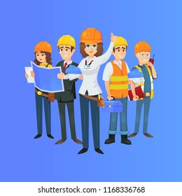 Сonstruction worker team in safety helmets. Engineer, architect with blueprint, builder, foreman with portable radio isolated on blue background. Industrial building company illustration.