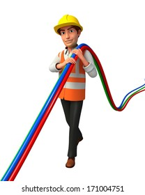 Worker with wire