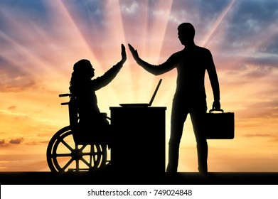 Worker woman a disabled person in a wheelchair and the employer. The concept of employment of persons with disabilities
