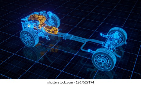 Working Car Engine Scheme with chassis and wheels 3d render
